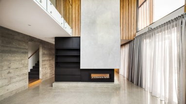 riddle bentleigh fireplace concrete wall finney